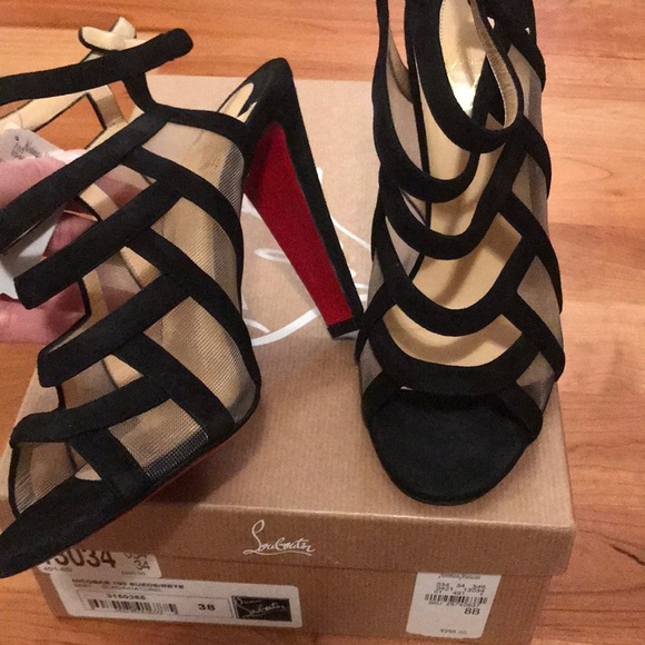 new product e4ae3 e0d93 Christian Louboutin Suede Nicobar strappy heels